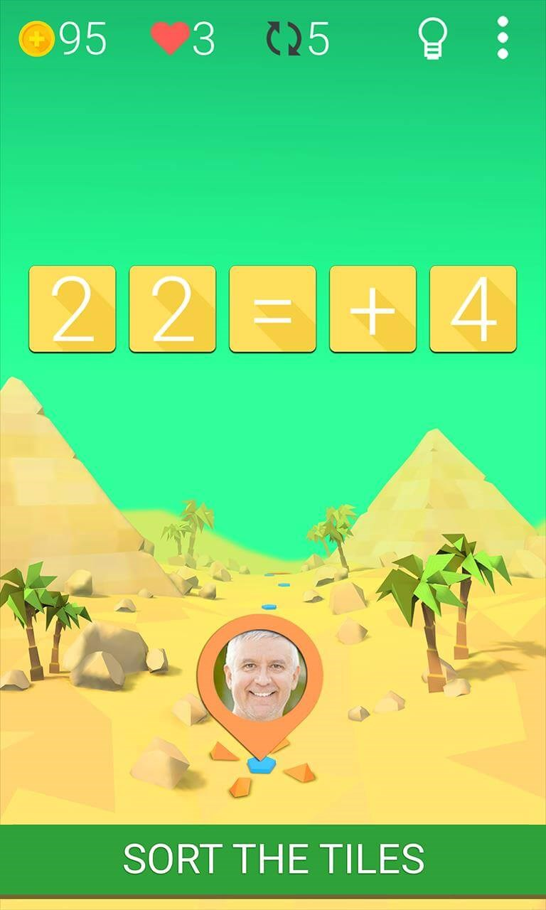 SIMPLE AND ADDICTIVE GAMEPLAY<br/>Train your brain going through its multiple levels, sorting the tiles to resolve simple equations with basic operations, but, don't be fooled!